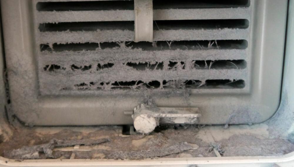 EKKELT: De fleste glemmer nok å rengjøre denne, noe du faktisk bør gjøre hver måned. Kanskje kondensatoren i tørketrommelen din ser slik ut?