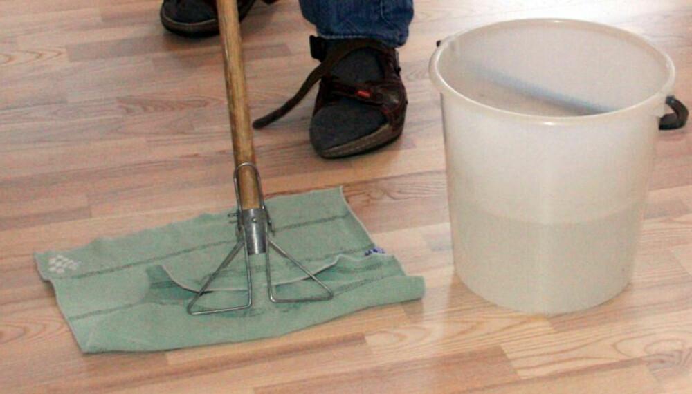 IKKE VANN PÅ PARKETTEN: Moderne parkett tåler i liten grad vann. Rengjøring skal helst foregå med en tørrmopp, eller i nødsfall med en svak fuktet klut. Vannsøl bør fjernes så fort som mulig.