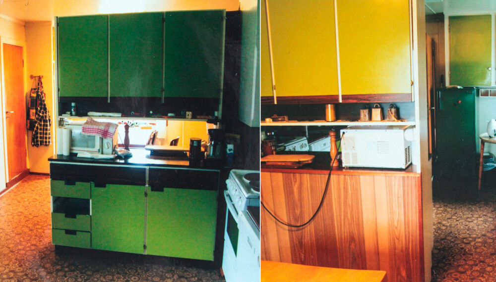 FØR OPPUSSING: Slik så kjøkkenet ut før Lillann pusset det opp. Gusjegrønne plater og en kjøkkeninnredning som delte opp rommet slik at utsikten ble delvis sperret.