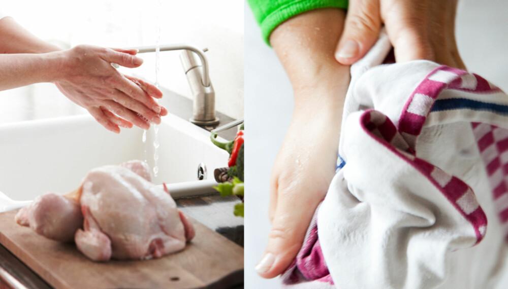GENERALTABBE: Å håndtere mat eller andre ting som kan overføre bakterier, vaske hendene og deretter tørke seg på kjøkkenhåndkleet er en av de vanligste tabbene vi kan gjøre på kjøkkenet. Om håndvasken ikke er god nok, smitter bakterier over til håndkleet, som igjen smitter over på alt vi bruker det til senere.
