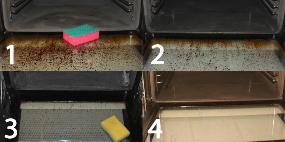 HELE PROSESSEN: Nr. 1 viser komfyren før behandling. Nr. 2 viser komfyren etter at natron og eddik hadde fått sitte i 20 minutter. Nr. 3 viser komfyren etter at blandingen hadde sittet over natten. Nr. 4 viser komfyren etter en avsluttende runde med stålull og såpe (Svint).