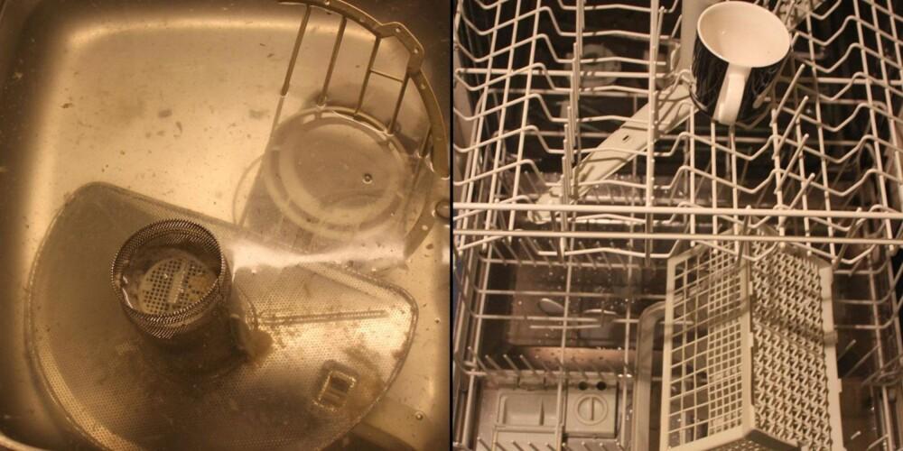 EFFEKTIVT: Filtrene sto en stund i varmt vann og eddik, før de ble skrubbet ned. Selve maskinen ble kjørt en runde på det varmeste programmet, med en kopp eddik stående i øverste hylle.