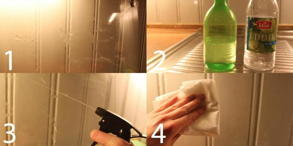 PRAKTISK: Glassruten ble smusset til for å teste effekten. Det var ingen sak for middelet, som besto av 50/50 eddik og vann.