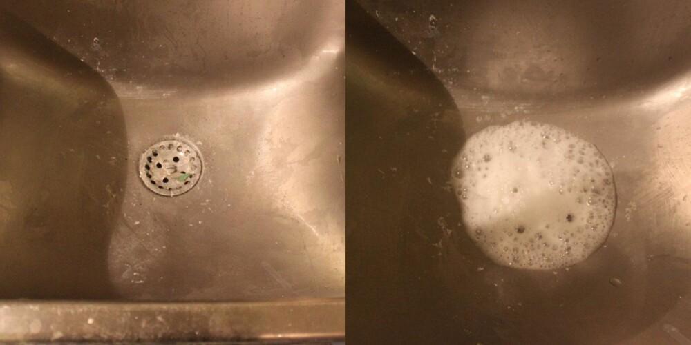 BRUSER: Når natron og eddik blandes begynner det å bruse. Dette forsvinner etterhvert ned i sluket og må skylles ned med varmt vann. Virkningen er ikke stor.