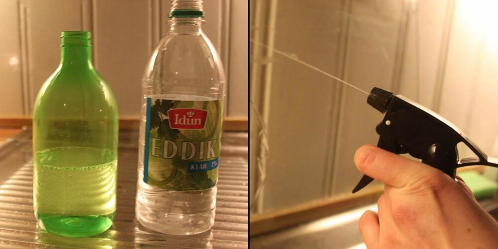 PRAKTISK: Bland vann og en dæsj eddik i en tom sprayflaske, så har du et greit allround-middel til flekker og smuss.