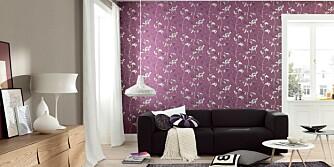 FARGELEK: Lek deg med farger på vegg og gulv - eller tak. Det kan imidlertid være greit med noen tips på veien. Tapet Tendresse fra Borge