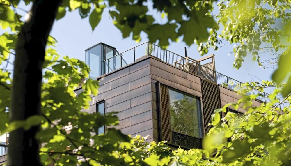 LUFTIG PROSJEKT: Gjengen på taket. Boligprosjektet i Parkveien 5 i Oslo er bygget på en syv meter bred tomt mellom to bygårder hvor det tidligere lå en parkeringsplass.