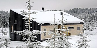 VELPREPARERT HYTTE: Skihytta tegnet av Jarmund/Vigsnæs Arkitekter ligger som en diger kampestein ute på hogstfeltet. Den er blant annet hedret med Velux-prisen for god design. Utvendig er den beiset svart som kull