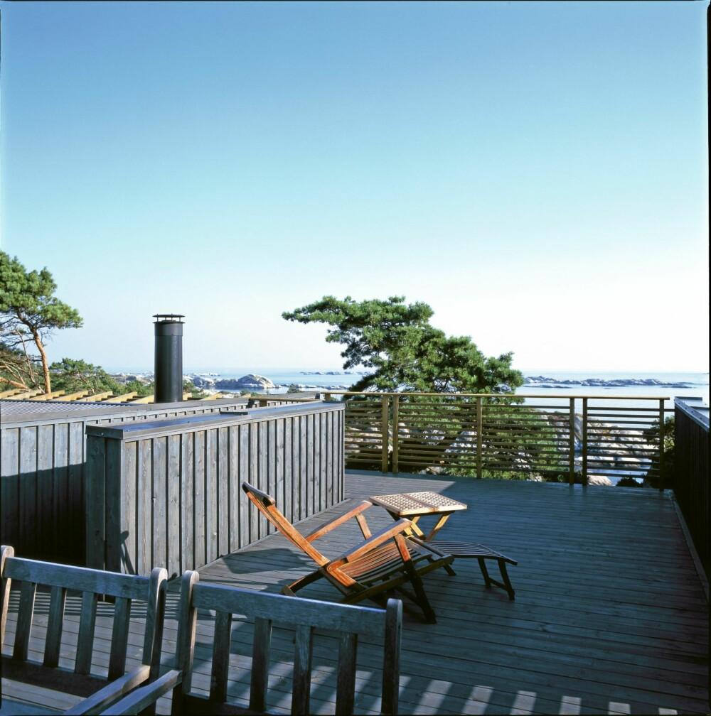 FULL POTT: Fra takterrassen som ligger i høyde med trekronene ser man mot Jomfruland, Rauane og den travle skipsleden aller ytterst.
