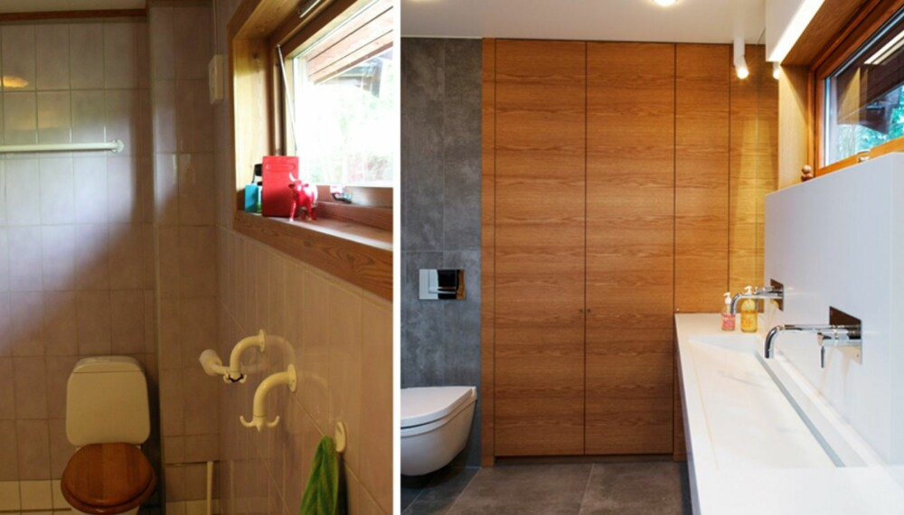 FØR OG ETTER: Til venstre ser du bildet fra badet før det ble overhalt, til høyre ser du bilde av slik det ser ut nå.
