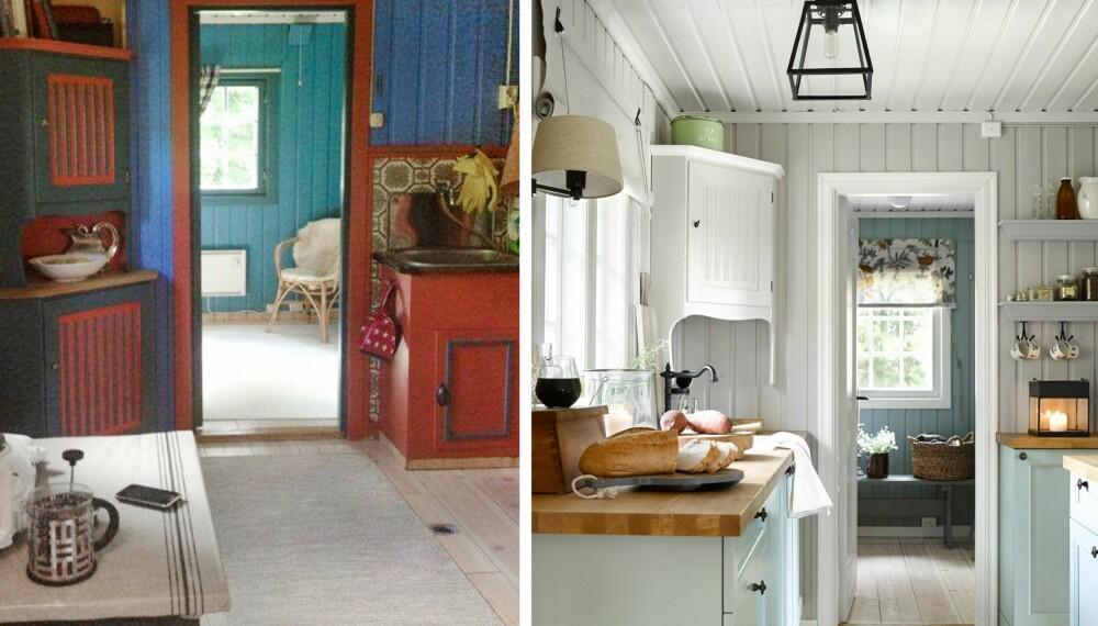 TRENGTE FORNYELSE: Kjøkkenet var litt mørkt og trist før oppussingen. Nye farger på dører og vegger bidro til forandringen. Det nye kjøkkenet er fra Bærum Kjøkkensenter. Det gamle hjørneskapet ble tatt vare på, men ble malt om. (FOTO: Per Erik Jæger)