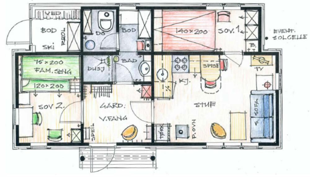 HYTTELIVSHYTTA: Her som 38 m2 inneholder stue/ kjøkkenkrok, garderobe/ vindfang, bad,do, bod, 2 soverom.