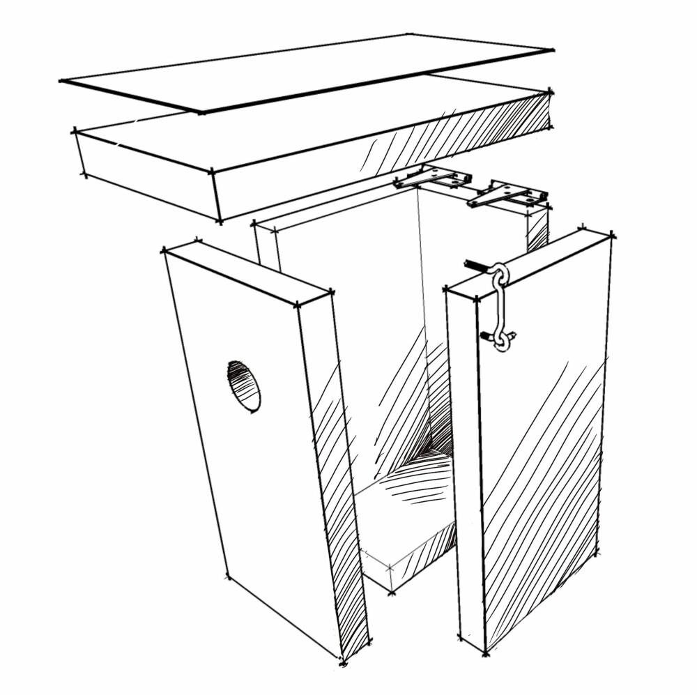 STANDARD TYPE: Dette er den enkle varianten. Du kan lage den av ett bord. Bredde på bordet kan være mellom 123 og 148 mm. Legg en bit papp på taket og monter gjerne hengsler. Da blir det enklere å kikke, husk bare å sette på en haspe eller annen låseanordning.