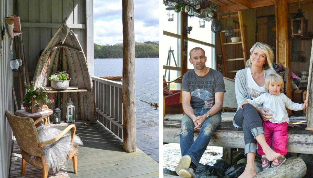 KORTREIST GLEDE: Jørund, Mona og lille Selma trenger ikke å dra langt for å nyte hyttelivets gleder. Når båten er sjøsatt om våren, gjøres naustet om til hytte.