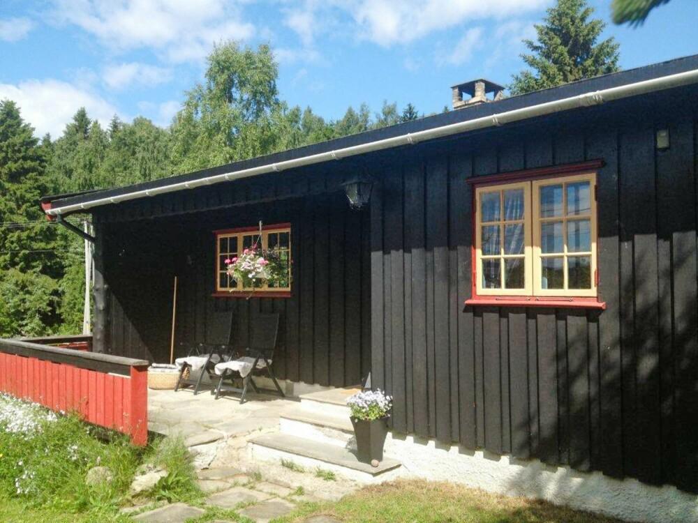 GAMMEL FASADE: Hytta i Lunner på Hadeland trengte en fornyelse. Den ble totalforvandlet med hjelp av Hyttelivs interiørdesigner og stor egeninnsats. (FOTO: Privat)