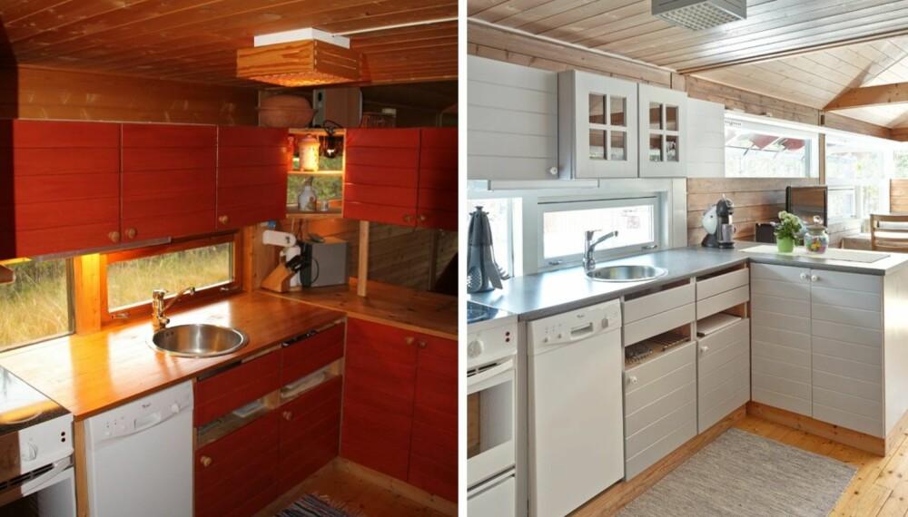 STOR FORANDRING: Hytta ble langt lysere og mer tidsriktig etter at hytteeierne Yvonne Bell og Tor-Arve Imingen tok over hytta. På kjøkkenet ble overskapene over barløsningen fjernet for å slippe inn mer lys og åpne opp mellom kjøkken og spisekroken. (FOTO: Sveinung Bråthen)