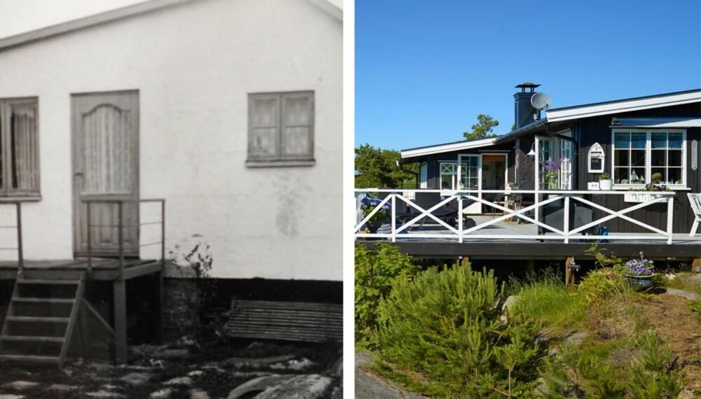 GENERASJON 1: Morfaren til dagens eier bygget denne vesle hytta i 1949. Den var på 12 kvadratmeter, og hadde verken vann eller strøm.
