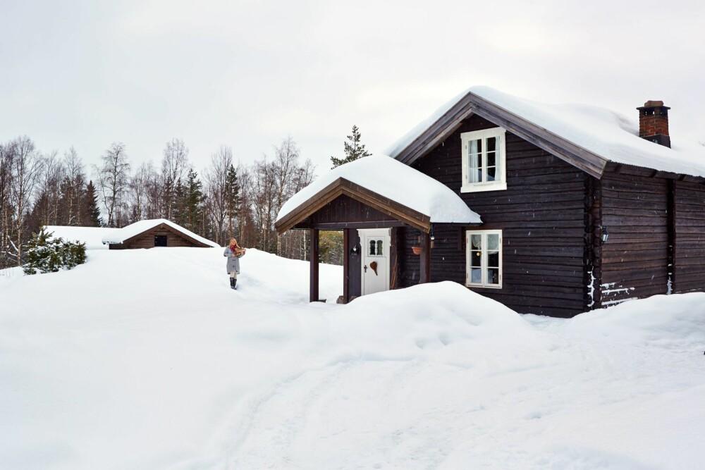 Tradisjonelt hytteliv: Lene går den lille turen over tunet for å hente ved i det gamle fjøset.