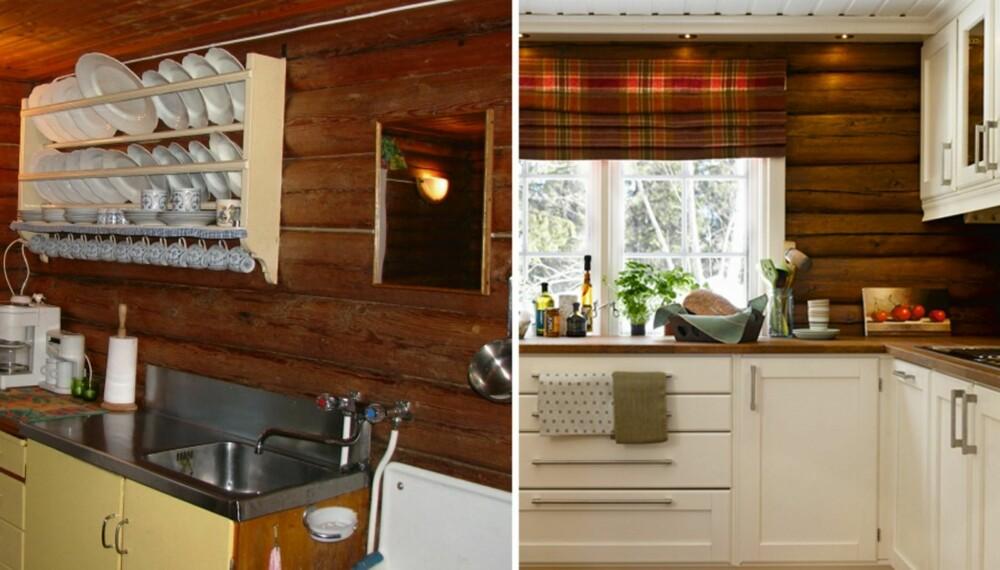FØR OG ETTER: Det trange og upraktiske kjøkkenet er nå blitt romslig med god arbeidsplass og smarte, fleksible løsninger.