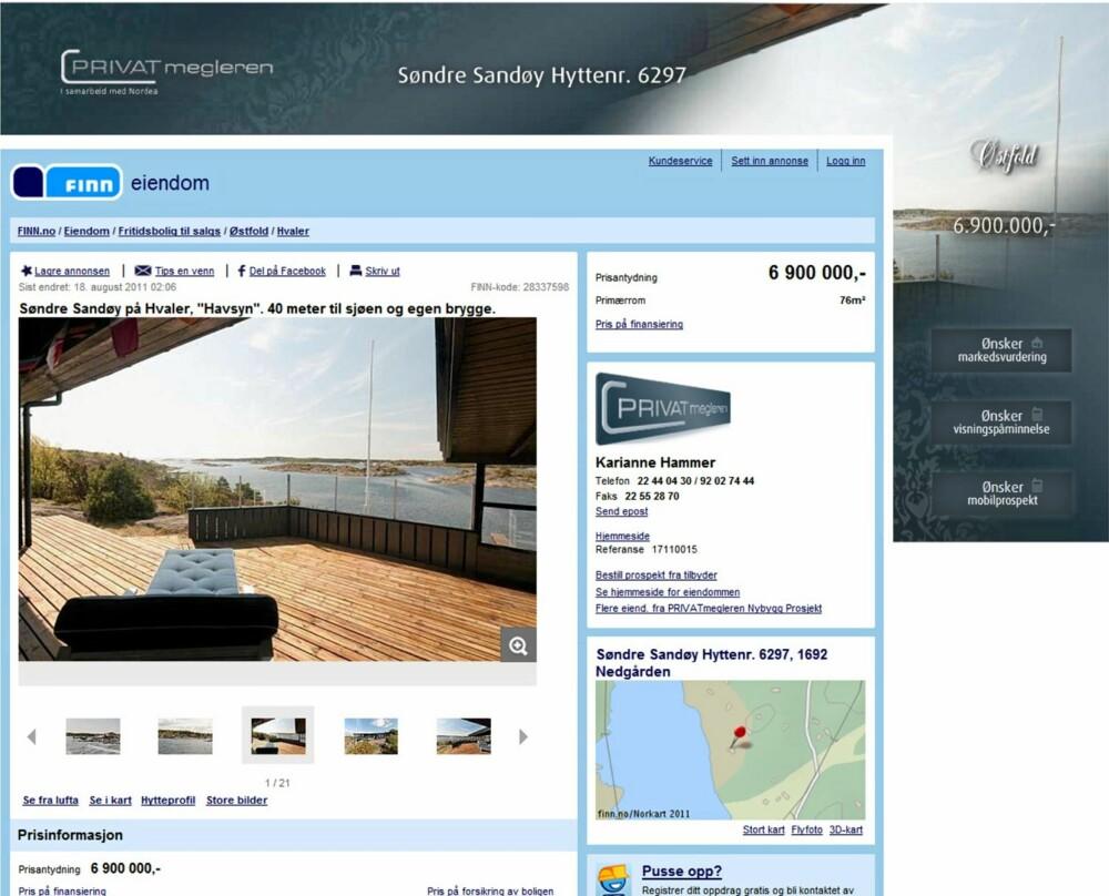 PÅ SJETTEPLASS: Hytte på Hvaler ved sjøen med 5 rom. Grunnflate 87 kvm. Byggeår 1962. Prisantydning 6,9 millioner kroner.