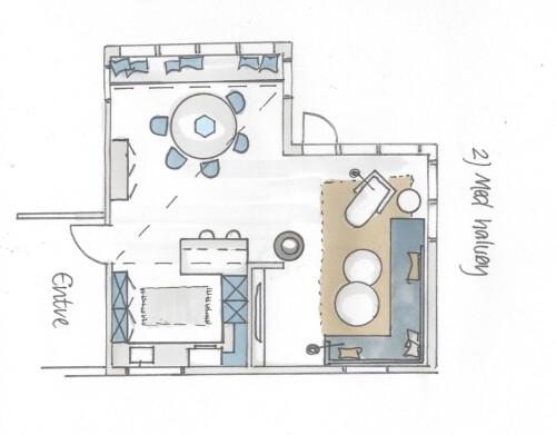 Tegning av kjøkken med halvøy.