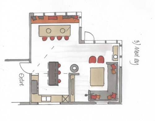 Tegning av kjøkken med øy.