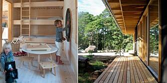 FAMILIEHYTTE: Arkitekt Anders Adlercreutz har tegnet en hytte med funksjonelle løsninger og plass til familien. De minste barna sover tre i høyden.