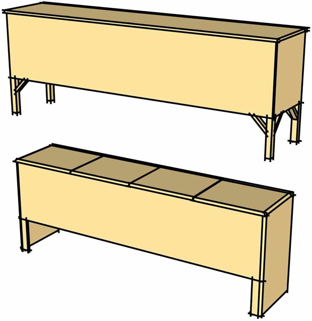 TILPASS STILEN: Benken på bildene er hvitmalt, med avrundede hjørner og kortsidene trukket helt ned til gulvet. Du kan tilpasse stilen ved å montere ben og beholde rette kanter.