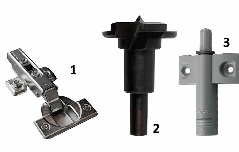 SMARTE BESLAG: En moderne skaphengsel (1) er enkel å montere med et senterbor (2). Monter også en dørdemper (3) slik at lokket lander mykt når det lukkes. Beslagene får du kjøpt i spesialforretninger og hos store kjedebutikker som Biltema, Clas Ohlson og Jula.