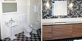 FØR OG ETTER: Ingenting var gjort på badet siden 30-tallet. Forandringen er slående.