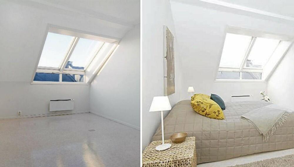 FØR OG ETTER STYLING: Ved å tilføre møbler og style boligen før salg kan kan kjøperen få et bedre inntrykk av boligens potensiale.