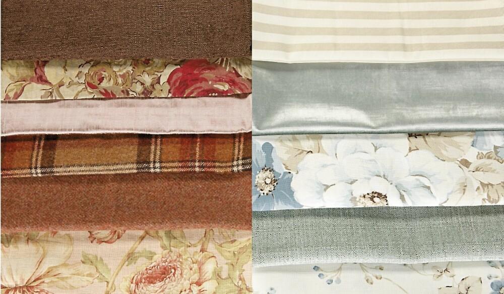 KONTRASTER: Det er fint å blande ulike mønstre, teksturer og strukturer, men likevel viktig å bruke noen ensfargede elementer i samme kulør for å binde tekstilene sammen.