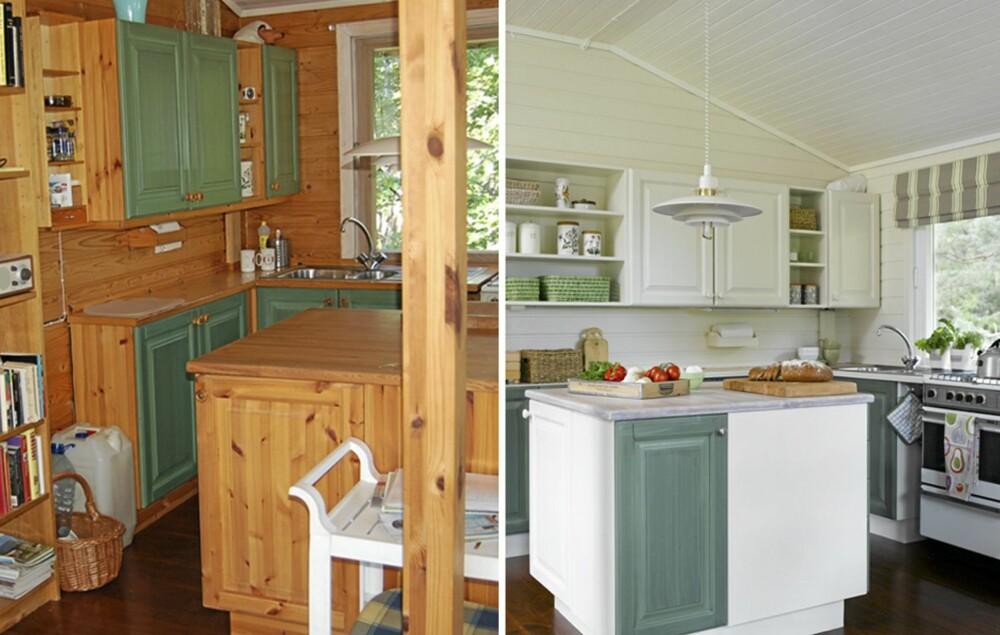FØR OG ETTER: Fargene på kjøkkenet var utdaterte, og det var behov for mer skapplass.