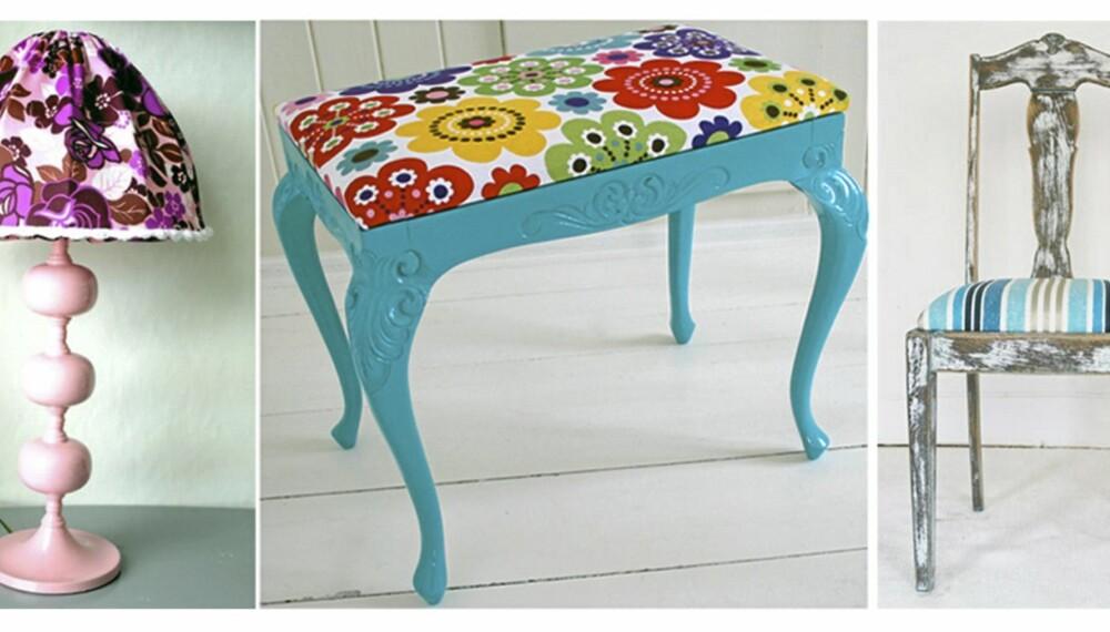 GAMMELT BLIR NYTT: Med et malingstrøk og nye tekstiler er de gamle møblene som nye. Fra Precious, Vivoli og Brigg