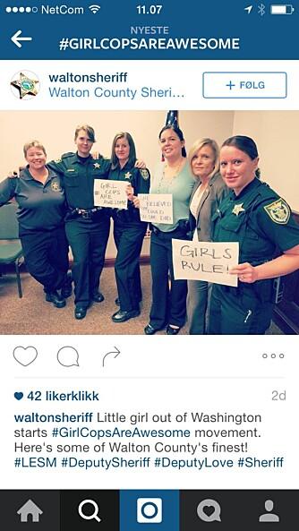 STORT ENGASJEMENT: Over hele USA har kvinnelige politibetjenter gitt tommelen opp for flere kvinner i uniform.
