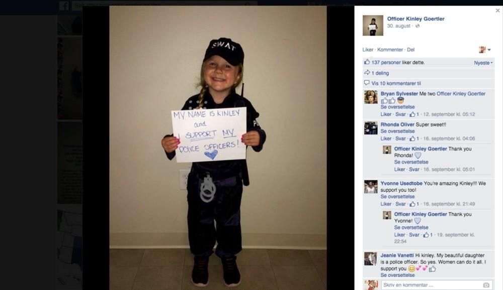 TØFF JENTE: Kinley Goertler poserer nå stolt i politikostymet hun kjøpte til Halloween.