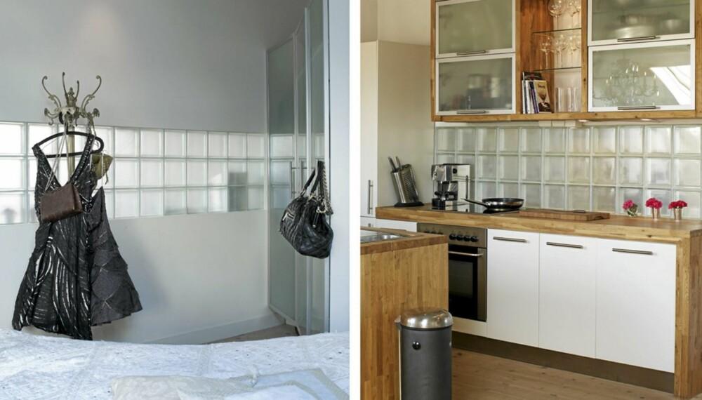 GJENNOMSKINNELIG FELT I VEGGEN: Raden av glassbyggestein over kjøkkenbenken bidrar til økt arbeidslys på kjøkkenet samtidig som lyset fra loftsvinduet i stua også kommer soverommet til gode.