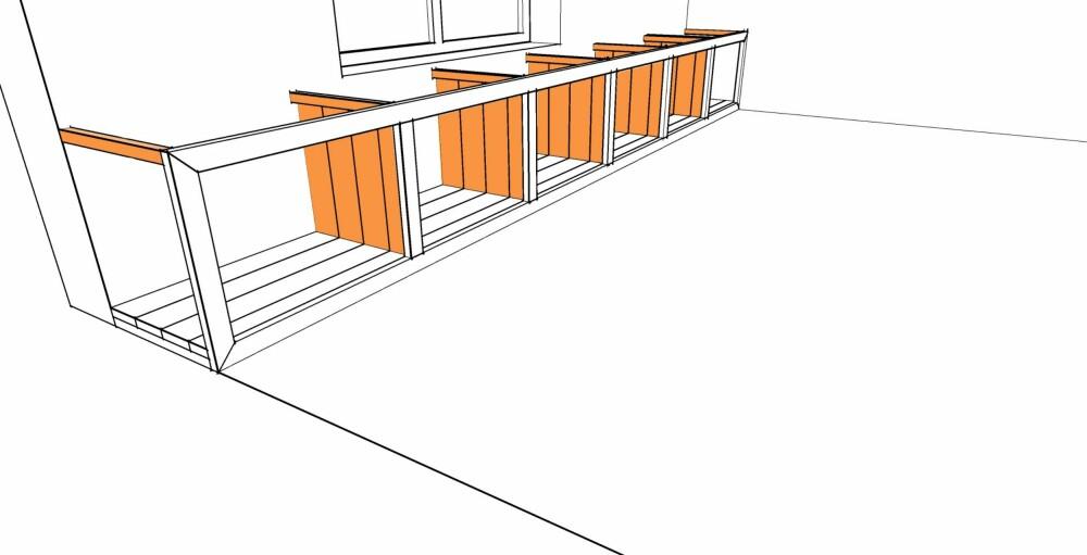 TRINN 3: Sett opp veggene. Disse kan du godt lage ferdig før du monterer. Bruk 21 mm rupanel. Sett en lekt på toppen og forbor i bunnen slik at du kan stikkskru til gulvet. Lektene på toppen blir spikerslag til benkeplaten.
