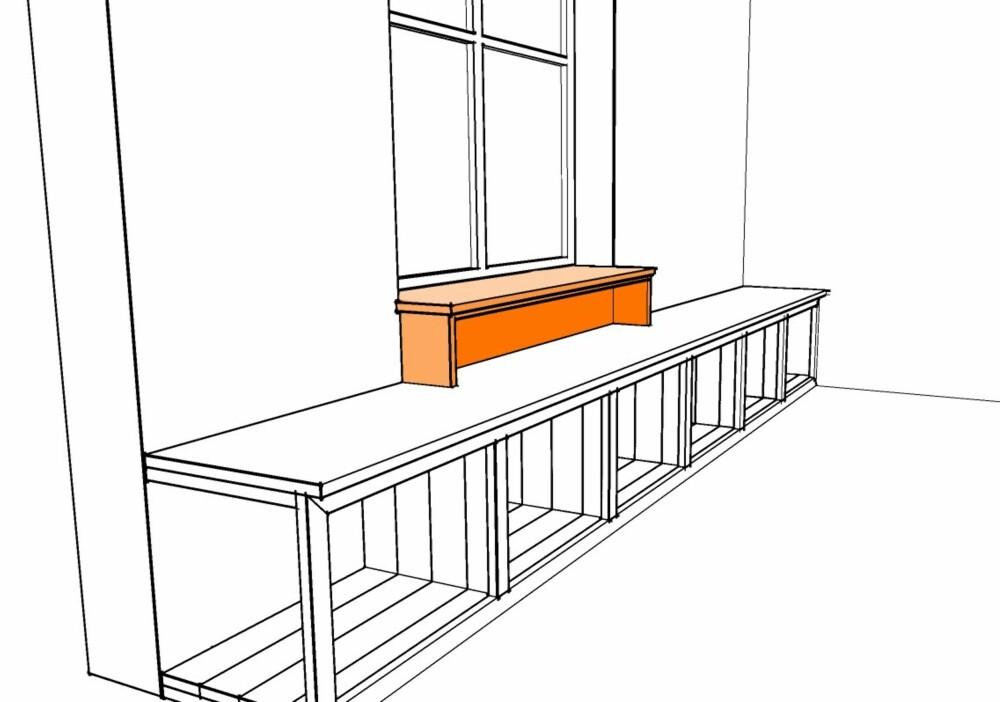 5. Mange hytter har vinduet høyere på veggen enn i vårt eksempel. Da kan du lage en avtrapping fra vinduskarmen på denne måten.