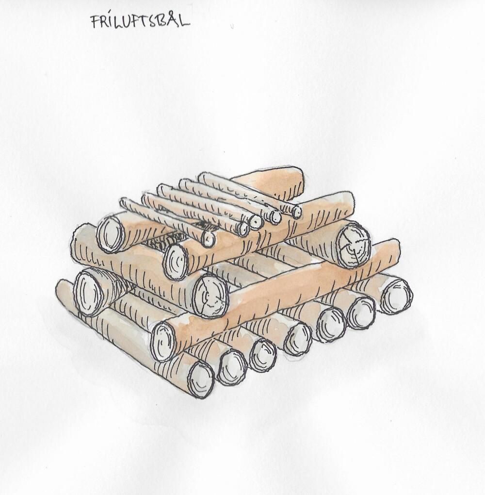 FRILUFTSBÅL: Bygges på en flåte av vedpinner som ligger tett i tett og hindrer at bålet synker i snøen.