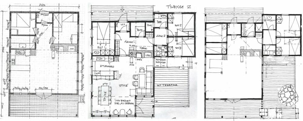 FØR OG ETETR: Til venstre er slik hytta var opprinnelig. I midten arkitektens forslag. Til høyre slik hytta til slutt ble.