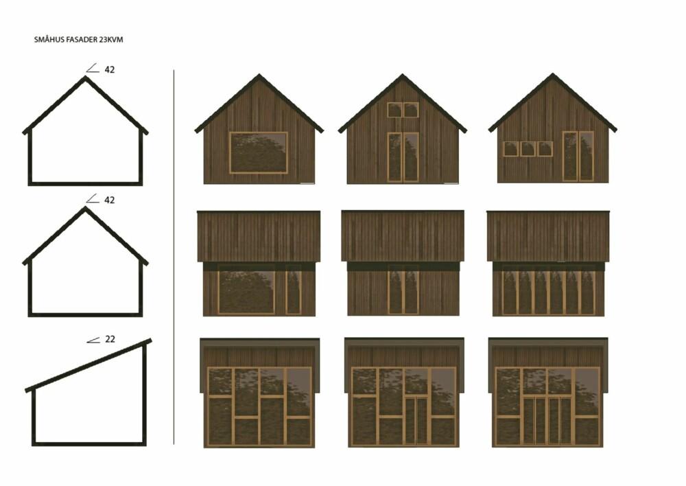 TEGN DIN EGEN HYTTE: Minihyttene fra Rindalshytter kan varieres, både med takvinkler, dører, vinduer og materialer.