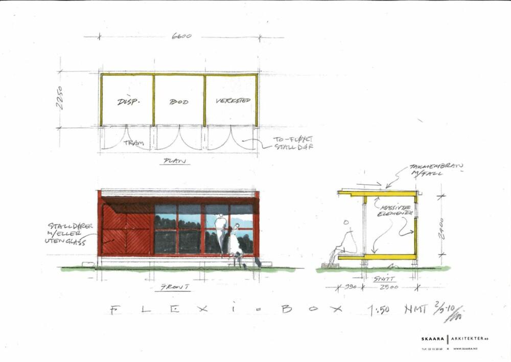 KIM SKAARAS MINI-HYTTE: Arkitekten foreslår blant annet ern to-fløyet stalldør i fronten, med eller uten glass - eller bare enkle dører, avhengig av formål.