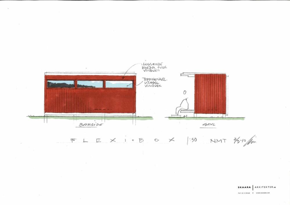 MINIHYTTE MED VARIASJONSMULIGHETER: Tegningen  viser bygningen med rød kledning, men man kan selvsagt varierere med hva som helt av farger/ubehandlet kjernevirke, og stående eller liggende kledning tilpasset hovedhus/hytter, sier arkitekten.