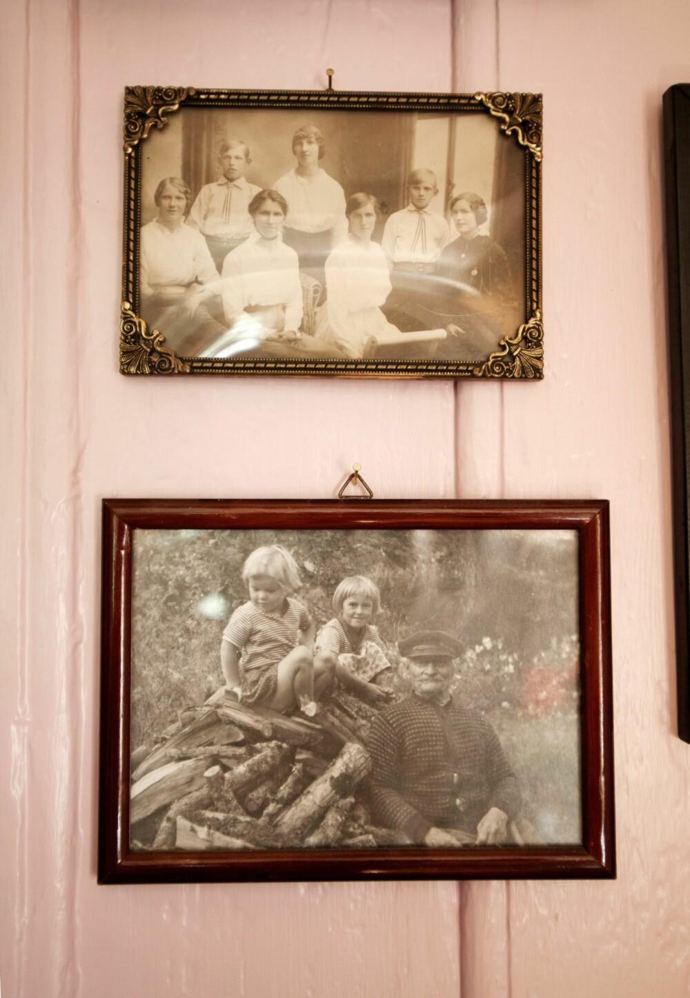 HISTORIE PÅ VEGGEN: Kanskje var det en kjærlighetshistorie mellom gårdsgutten Nils og gårdseieren Marie? Rigmor og Jorun kalte uansett Nils for bestefar.
