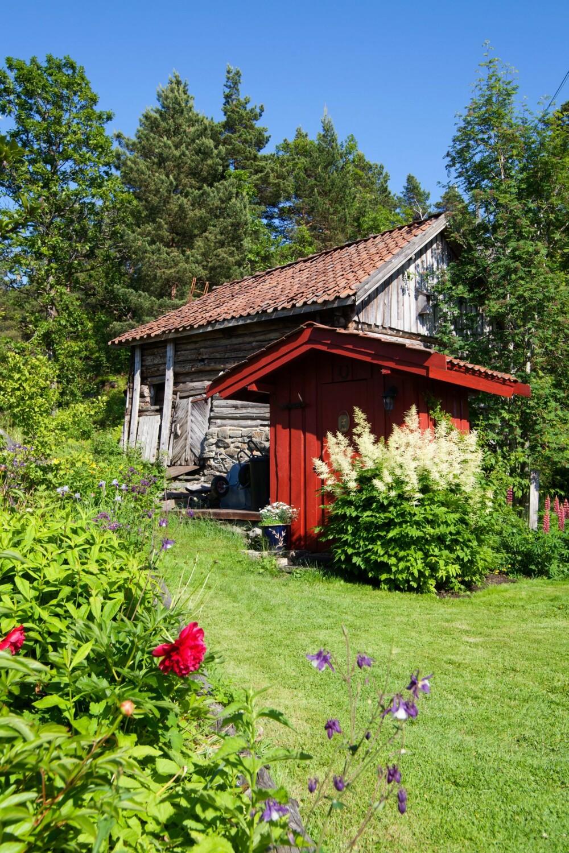 GRÅ PATINA: Opprinnelig var alle hus i grå patina, slik som låven ser ut i dag. Nå er utedoen malt rød, mens bryggerhus og hovedhus er malt Staverngule.