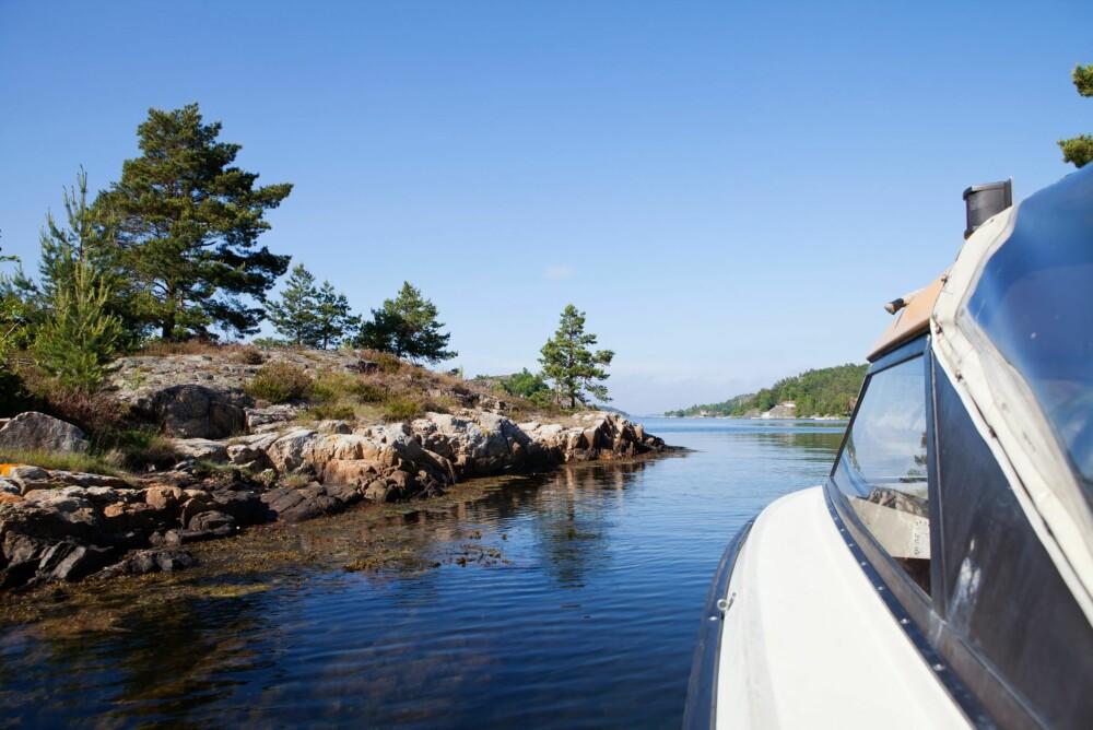 SJØVEIEN: I dag kjøres det motorbåt til og fra Kragerø, men da Jorun og Rigmors oldefar Christen Falk kom hit på midten av 1800-tallet med de fire døtrene sine, hadde han kun en robåt. Han var los og døtrene stelte hagen, rodde inn til Kragerø og solgte hvalnøtter, nyper, frukt og bær.