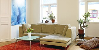 MØBLERING. Sofaen trenger ikke stå helt inntil veggen. Store puter kan også fungere som sitteplasser.