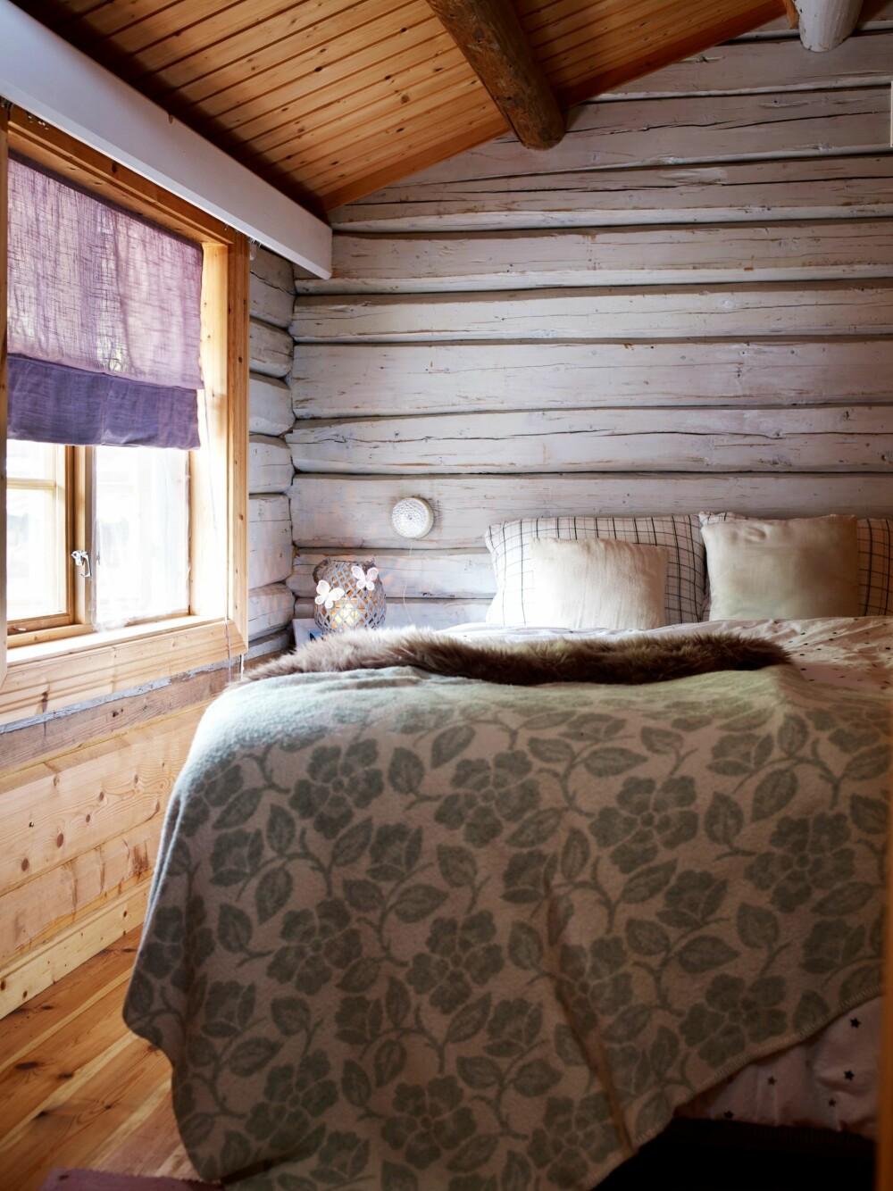FÅR PUSTE: Også tømmer har godt av å puste. Derfor pusser hytteeierne den tette malingen av de gamle tømmerveggene på soverommet, noe som er nøysommelig jobb de bruker mye tid på.