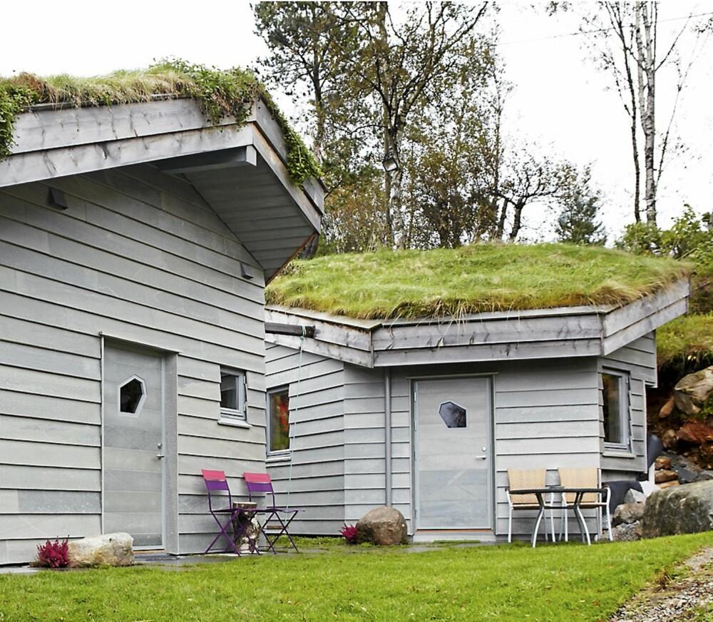 SEKSKANTET: Både hytta og boden har fått en sekskantet form, tilpasset terrenget. Den liggende kledningen skal minne om tre, men er utført i vedlikeholdsfritt skifer.